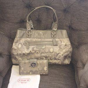 Grey coach set (purse, wallet with checkbook)